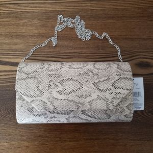 George Ava Faux Snake Flat Clutch Evening Bag